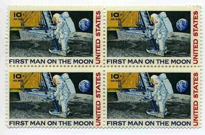 Apollo 11 1st Man on Moon Neil Armstrong Moon Landing 48 Year Old Stamp Block