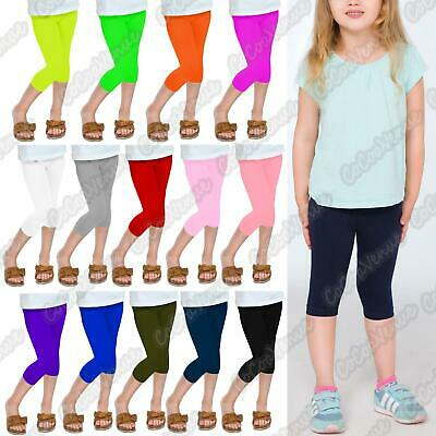 Kids Girls Plain Gymnastics Dance 3/4 Capri Leggings Children Basic Cropped Pant