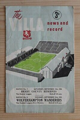 Aston Villa  V Derby County Reserves 1952/53 (13/9/1952) + Wolves (15/9/1952)