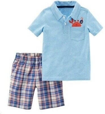 Baby Boys NEW Carter's Set~2 Pc $24~Crab Turquoise Shirt~Plaid Shorts~6 Months