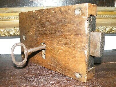 Superb Large Original Antique English Oak Church Door Lock With Key And Keep
