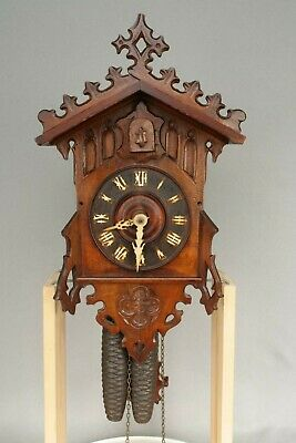 Working Antique Black Forest, Beha, Brass Plate, Wall Hanging Cuckoo Clock