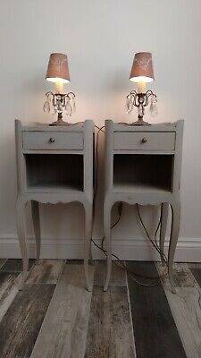Vintage French Louis XVI Pair Petitie Bedside Cabriole Cabinets Nightstands Grey