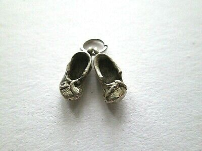 Vintage Antique Hallmarked Silver Pair Shoes Slippers Childs Ballet Shoes Charm