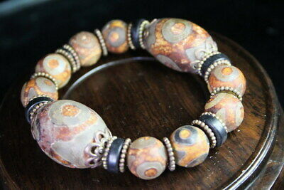 Collection Agate polishing Ellipse Bead String Natural Texture Wealthy Bracelet