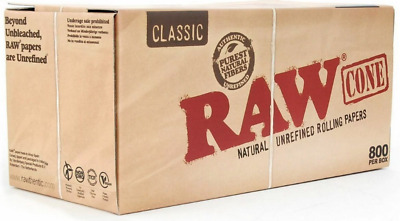 """25 Pack - RAW Classic Organic 1 1/4"""" Cones - Authentic Pre-Rolled with Filter"""