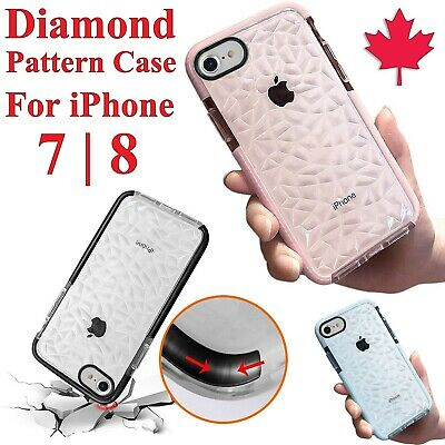 For iPhone 7 & 8 Case - Diamond Pattern Transparent Bumper TPU Shockproof Cover