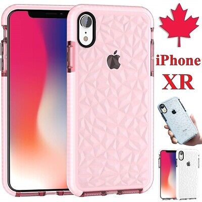 For iPhone XR Case - Diamond Pattern Clear Bumper TPU Shockproof Cover