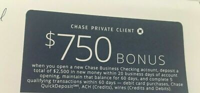 Chase coupon $750 Business checking Bonus Offer Coupon, Exp: 9/26/19