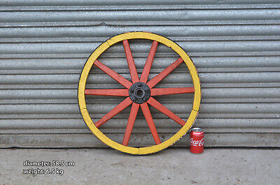 Vintage old wooden cart wagon wheel  / 58.5 cm / 6.5 kg - FREE DELIVERY
