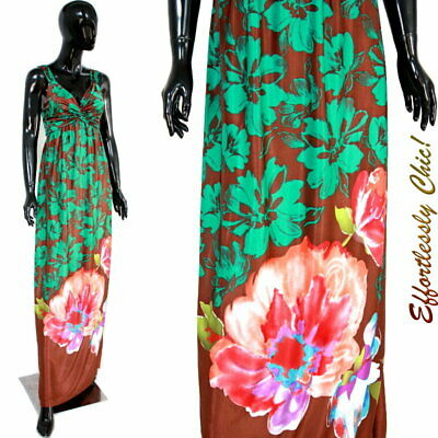 Vtg 70s Floral Maxi dress Uzanel Paris Silky Halter Hawaiian Floral Sundress