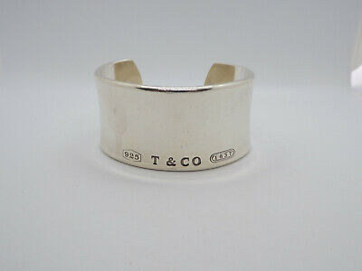 Tiffany & Co Sterling Silver 1837 Wide Cuff Bracelet 2001, with pouch, 78.3 g