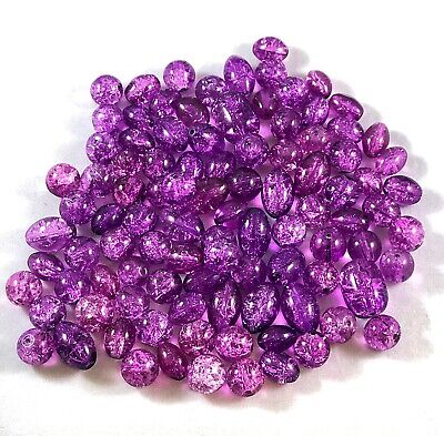 Wholesale Mixed Lot of 100 Purple Crackle Glass Beads 8mm to 12mm