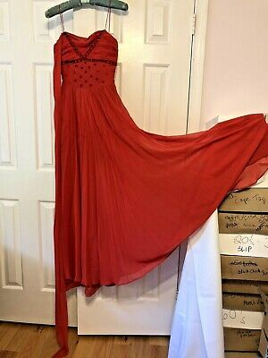 Vintage 1930s 1940s Red XS Evening Gown Silk Beaded Sleeveless Scarf Attached