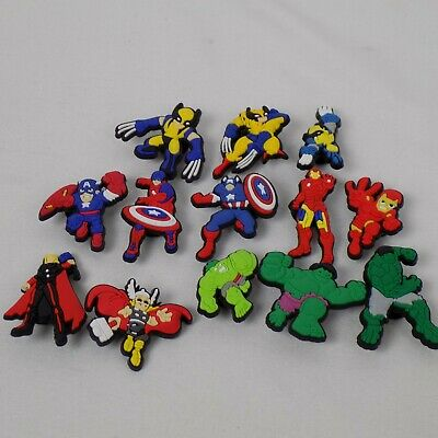 13 piece Lot Avengers PVC Shoes Charms Jibbitz Wristbands Gift THOR Capt America