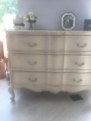 Vintage French carved painted white oak chest of drawers louis xv style