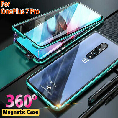 For OnePlus 7 Pro Magnetic Adsorption Metal Double Tempered Glass Case Full Cove