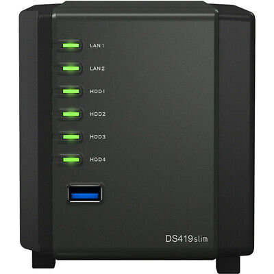 Synology DiskStation DS419slim 8tb SSD NAS Server 4x2000gb Crucial MX500 Drives