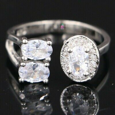 Fantastic White Sapphire SheCrown Ladies Present Silver Ring 8.0 #