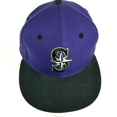 new concept 45fec 0a722 New Era 59Fifty Hat Mens MLB Seattle Mariners Black Purple Fitted Cap 7 1 2