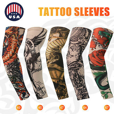 For Men Women Tattoo Cooling UV Sun Protection Arm Sleeves Golf Sports Outdoor