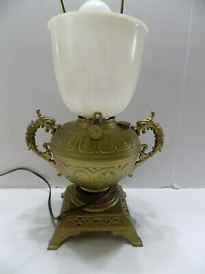 Old Bradley & Hubbard Table Lamp Brass Handled Urn Square Base Electrified  (9)