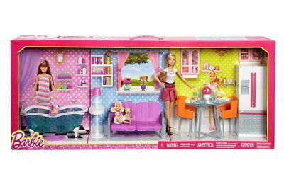 Barbie Doll & Furniture Giftset: 3 Rooms (Kitchen, Bath, Living Room) New