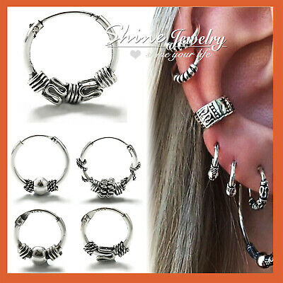 925 Solid Sterling Silver Mens Ladies Ear Cartilage Small Hoop Sleeper Earrings