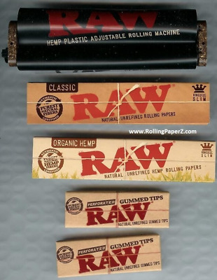 RAW Adjustable Rolling Machine+ORGANIC&CLASSIC KING SIZE PAPERS+TIPS - Bundle #5