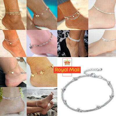 Women Ankle Bracelet 925 Sterling Silver Anklet Foot Chain Beach Beads Jewelry