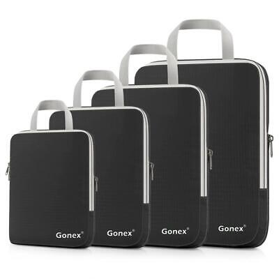 Gonex Compression Packing Cubes Extensible Organizer Bags for 4 Packs, Black
