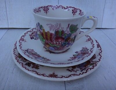 Masons Ironstone Fruit Basket Trio. Cup, Saucer and Plate