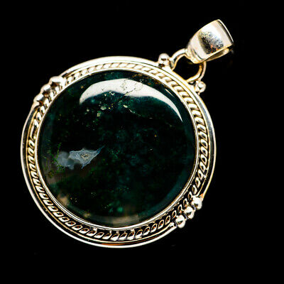 """Green Moss Agate 925 Sterling Silver Pendant 1 1/2"""" Ana Co Jewelry P691582F"""