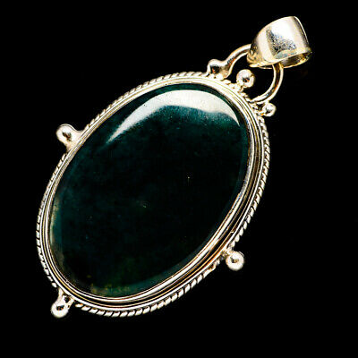 """Green Moss Agate 925 Sterling Silver Pendant 1 3/4"""" Ana Co Jewelry P691518F"""