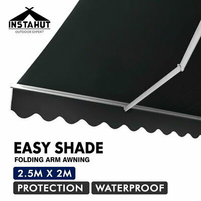 Instahut 2.5M x 2M Outdoor Folding Arm Awning Retractable Sunshade Canopy Grey