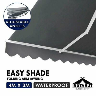 Instahut 4M x 2.5M Outdoor Folding Arm Awning Retractable Shade Sail Pearl Grey