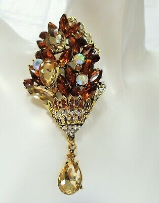 Stunning very large gold metal, a.b crystal, citrine amber paste brooch