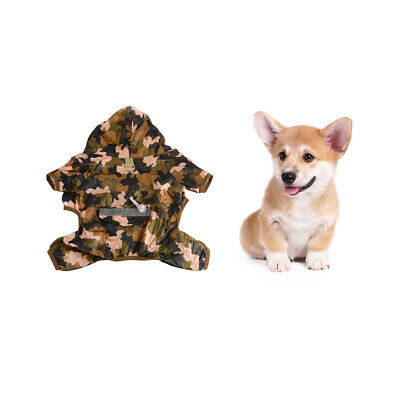Dog Raincoat Double Layers Pet Rainwear With Reflective Strip Camouflage PS357