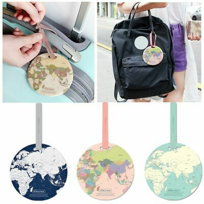 Silicone World Map Bag Tags Boarding ID Address Suitcase Label Baggage Holder