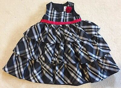 CHEROKEE Baby Girls Party Dress Black, Grey & Silver + Red Rose - Age 18 Months