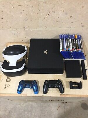 PlayStation 4 PS4 Pro and Virtual Reality VR with 2 Controllers and 12 Games