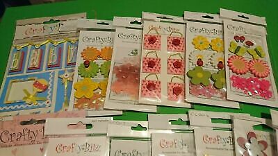 13 x Packs Of Embellishments by craftybitz #2  each lot may vary free post