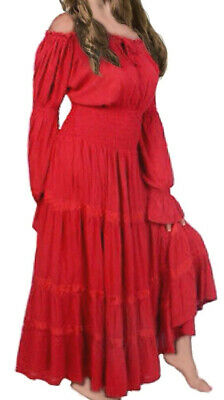 EX HIGH STREET Boho Peasant Gypsy Maxi Victorian Style Tiered Dress Sizes 10-14