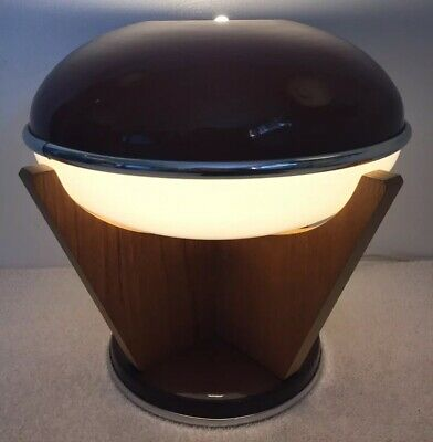 Mid Century Modern Lamp Brown Wood Vintage Retro Spaceship Saucer Futuristic