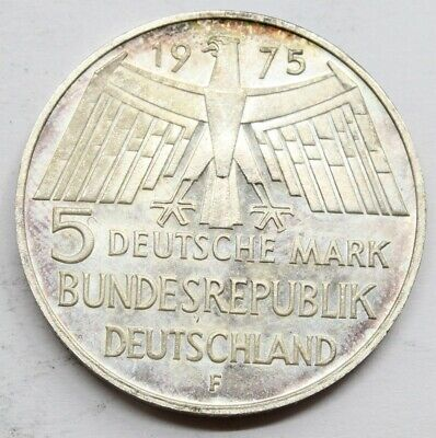 Alemania 1975 F 5 Mark Marcos Moneda Plata Sc