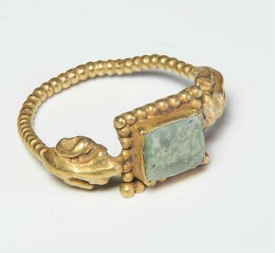 Roman gold ring with emerald: Circa 3rd-4th century AD.