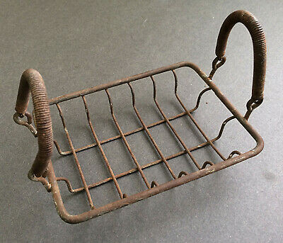 Vintage Farmhouse Soap Basket Primitive Sponge Holder Metal Wire Spring Handles