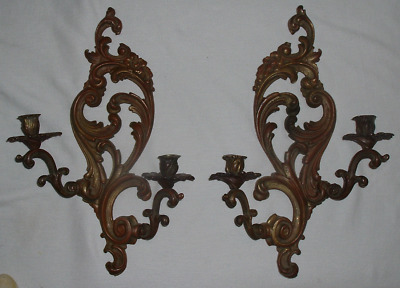 """PAIR *French Rococo Art Nouveau Flare BRONZE WALL 2 CANDLE SCONCES 19""""x12"""" *EXCL"""