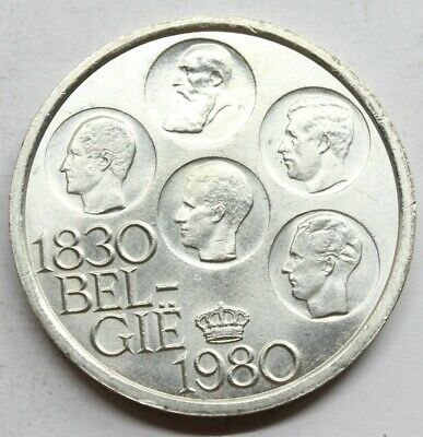 Belgica 1980 500 Francs Brillo Original Moneda Plata Sc