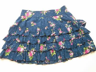 Girls Abercrombie And Fitch Short Mini Ruffle Blue Floral Skirt Size Large